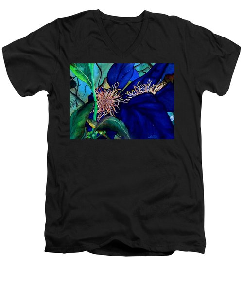 Clematis Regal In Purple And Blue Sold Men's V-Neck T-Shirt
