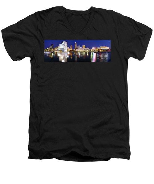 Cleveland Skyline At Dusk Men's V-Neck T-Shirt