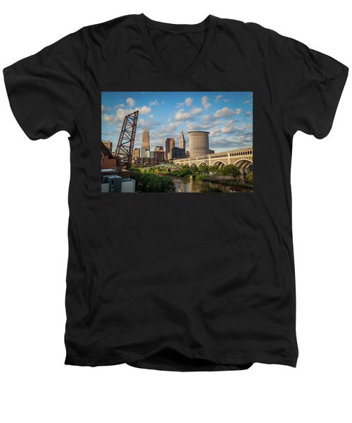 Cleveland Summer Skyline  Men's V-Neck T-Shirt