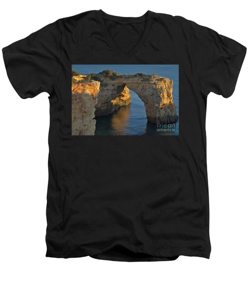 Cliff Arch In Albandeira Beach During Sunset 2 Men's V-Neck T-Shirt by Angelo DeVal