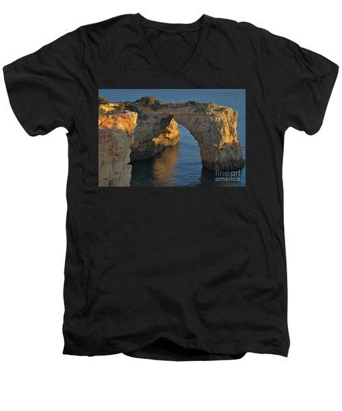 Cliff Arch In Albandeira Beach During Sunset 2 Men's V-Neck T-Shirt