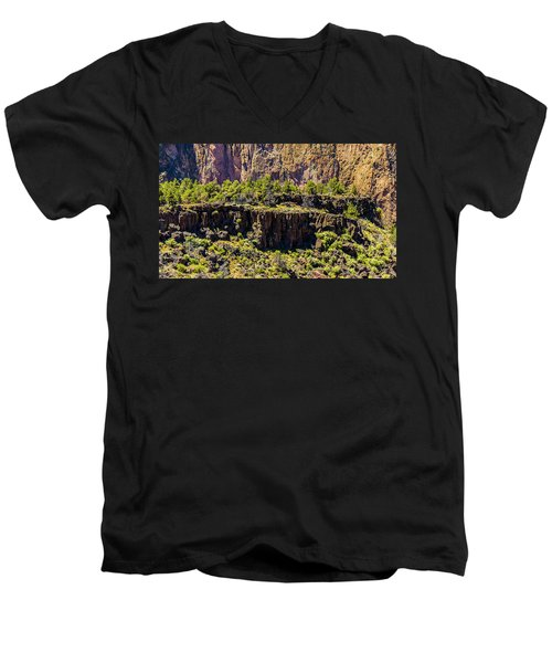 Men's V-Neck T-Shirt featuring the photograph Cliff Edge by Jonny D