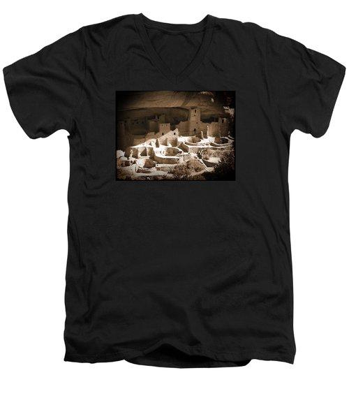 Men's V-Neck T-Shirt featuring the photograph Cliff Palace Mesa Verde by Kurt Van Wagner