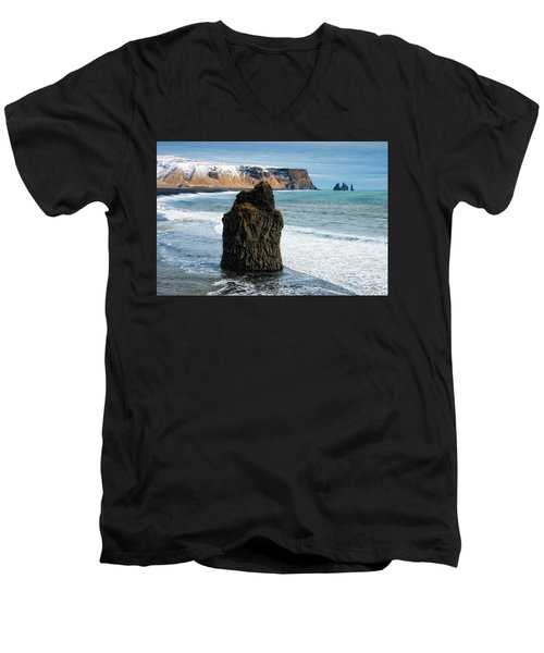 Men's V-Neck T-Shirt featuring the photograph Cliffs And Ocean In Iceland Reynisfjara by Matthias Hauser
