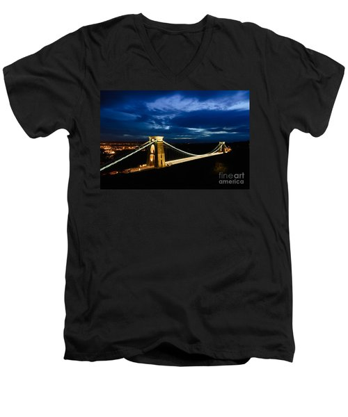 Men's V-Neck T-Shirt featuring the photograph Clifton Suspension Bridge, Bristol. by Colin Rayner