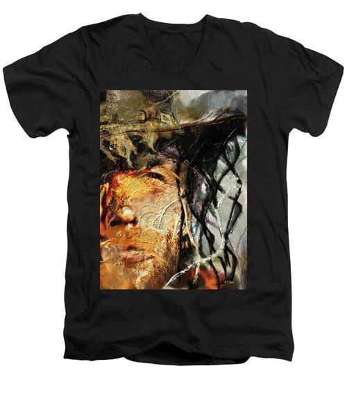 Clint Eastwood Men's V-Neck T-Shirt by Michael Cleere