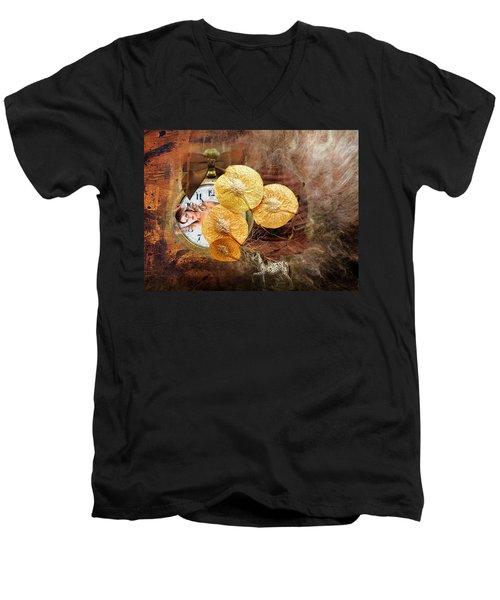 Clock Girl Men's V-Neck T-Shirt