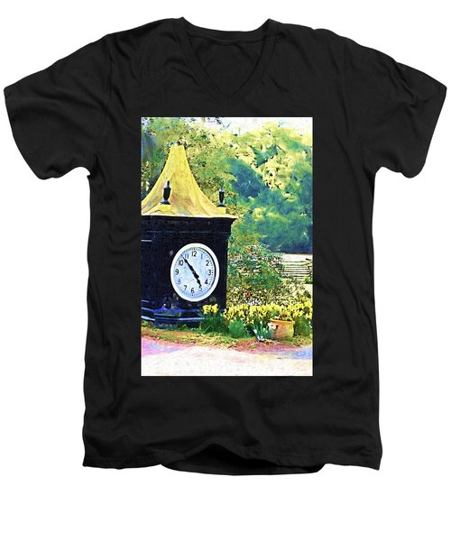 Men's V-Neck T-Shirt featuring the photograph Clock Tower In The Garden by Donna Bentley