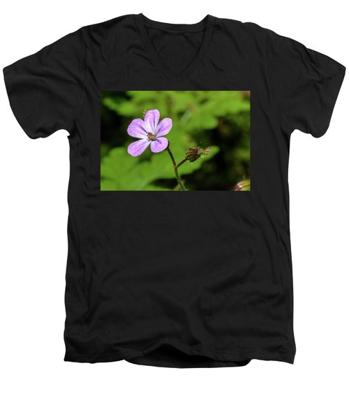 Close Up Of Shining Cranesbill A Men's V-Neck T-Shirt