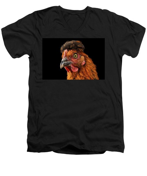 Men's V-Neck T-Shirt featuring the photograph Closeup Ginger Chicken Isolated On Black Background In Profile View by Sergey Taran