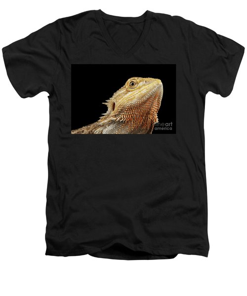 Men's V-Neck T-Shirt featuring the photograph Closeup Head Of Bearded Dragon Llizard, Agama, Isolated Black Background by Sergey Taran