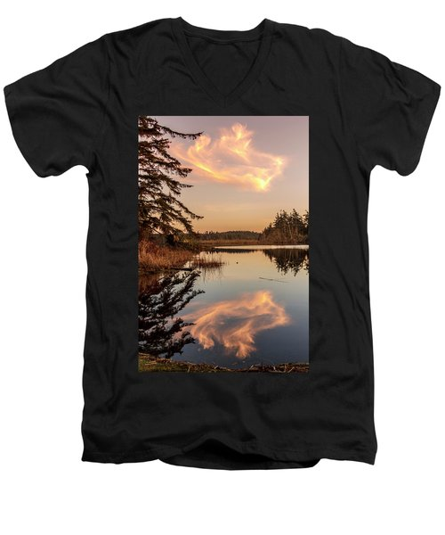 Cloud On Cranberry Lake Men's V-Neck T-Shirt by Tony Locke
