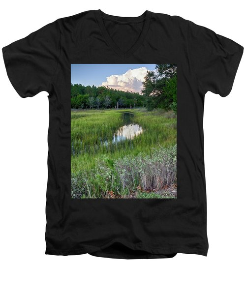 Men's V-Neck T-Shirt featuring the photograph Cloud Over Marsh by Patricia Schaefer