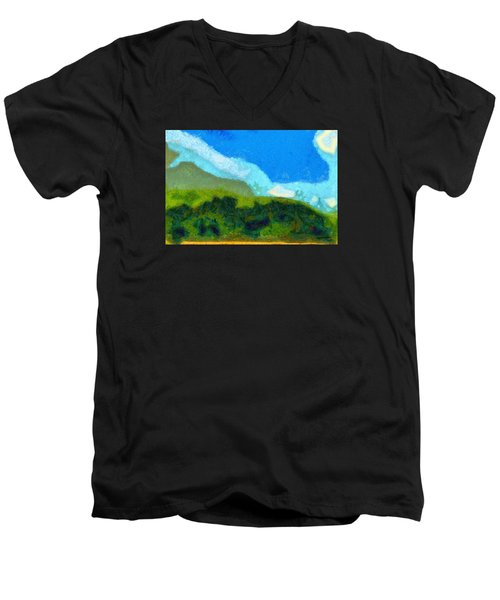 Men's V-Neck T-Shirt featuring the painting Cloud River by Spyder Webb