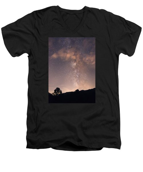Men's V-Neck T-Shirt featuring the photograph Clouds And Milky Way by Wanda Krack