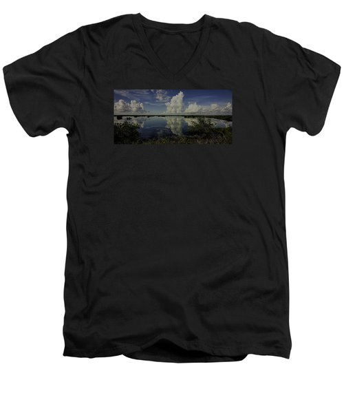 Clouds And Reflections Men's V-Neck T-Shirt by Dorothy Cunningham