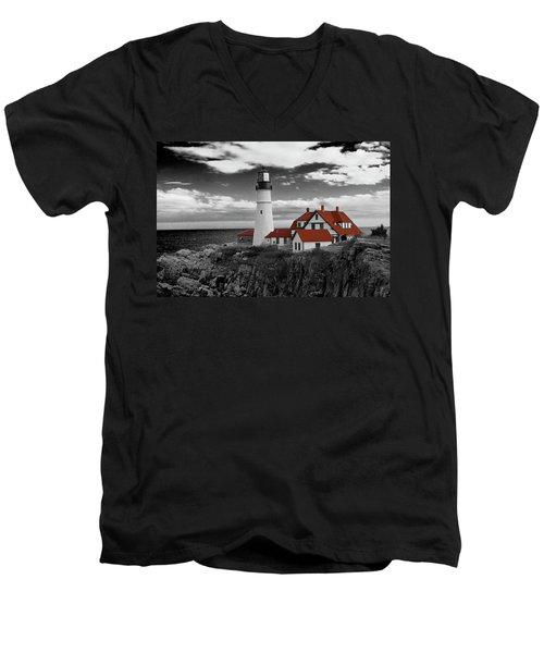 Clouds Over Portland Head Lighthouse 3 - Bw Men's V-Neck T-Shirt
