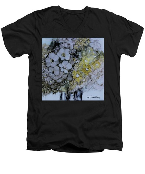 Men's V-Neck T-Shirt featuring the painting Cloudy With A Chance Of Sunshine by Joanne Smoley