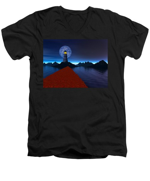 Coast Men's V-Neck T-Shirt by Mark Blauhoefer