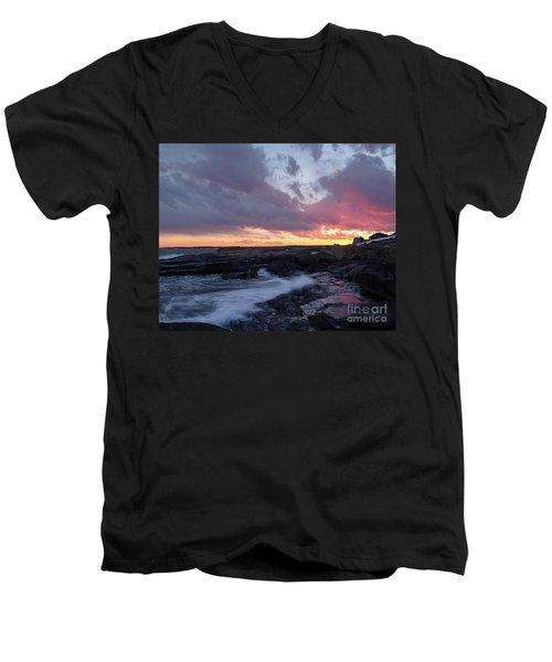 Coastal Sunset Cape Neddick - York Maine  -21056 Men's V-Neck T-Shirt