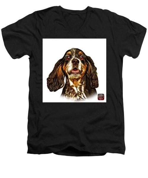 Cocker Spaniel Pop Art - 8249 - Wb Men's V-Neck T-Shirt by James Ahn