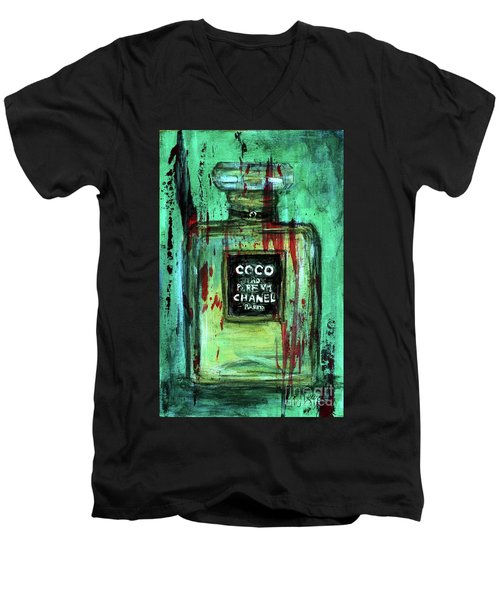 Men's V-Neck T-Shirt featuring the painting Coco Potion by P J Lewis