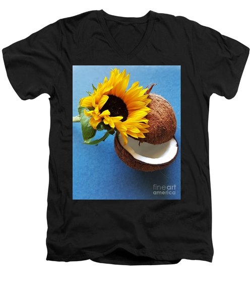 Coconut And Sunflower Harmony Men's V-Neck T-Shirt by Jasna Gopic