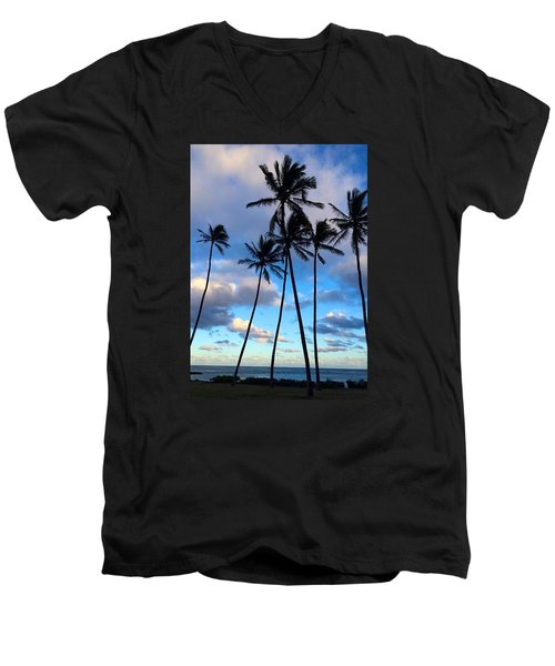 Men's V-Neck T-Shirt featuring the photograph Coconut Palms by Brenda Pressnall