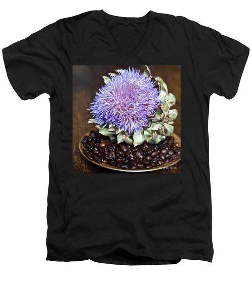Coffee Beans And Blue Artichoke Men's V-Neck T-Shirt