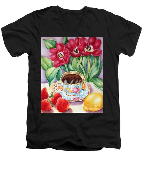 Coffee With Flavour Men's V-Neck T-Shirt by Inese Poga