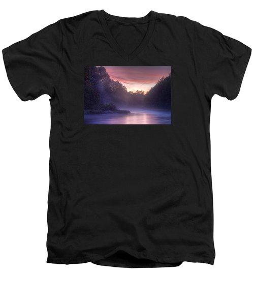 Cold Blue Mist Men's V-Neck T-Shirt by Robert Charity