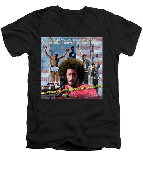 Colin Kaepernick Amongst The Brave Few 2a Men's V-Neck T-Shirt