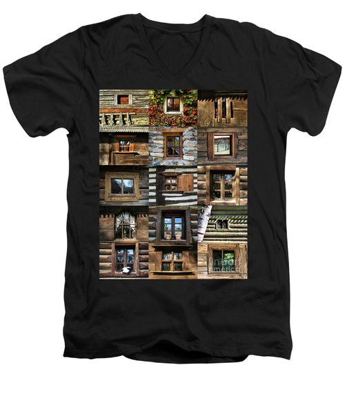 Collage From Handmade Traditional Wooden  Windows In Village Museum Bucharest Men's V-Neck T-Shirt