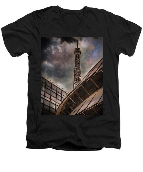 Paris, France - Colliding Grids Men's V-Neck T-Shirt