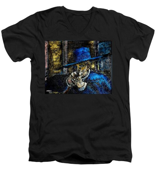 Men's V-Neck T-Shirt featuring the painting Colonel Mortimer's Shot by Seth Weaver