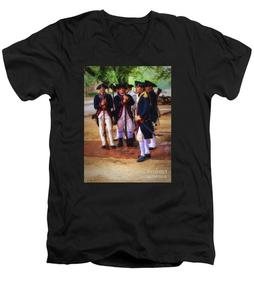 Men's V-Neck T-Shirt featuring the photograph Colonial Army  ... by Chuck Caramella
