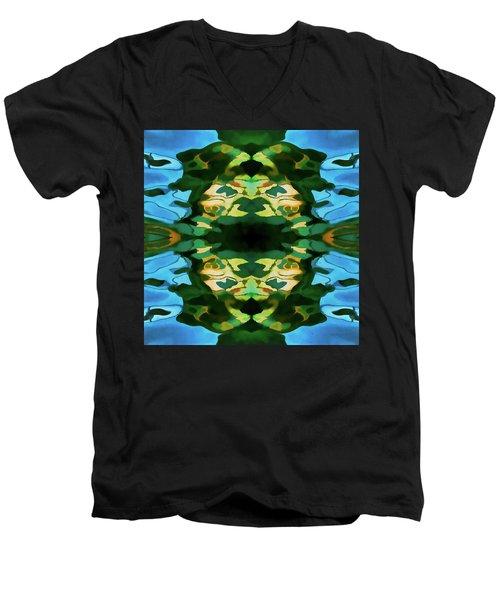 Color Abstraction Lxv Men's V-Neck T-Shirt by David Gordon