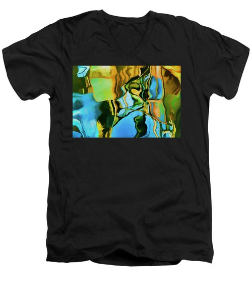 Color Abstraction Lxxiii Men's V-Neck T-Shirt by David Gordon