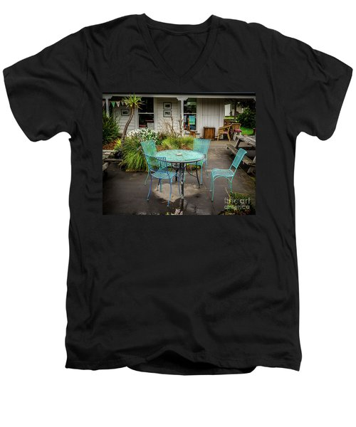Men's V-Neck T-Shirt featuring the photograph Color At Cafe by Perry Webster