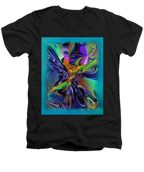 Color Burst Men's V-Neck T-Shirt by Yul Olaivar