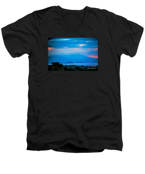 Men's V-Neck T-Shirt featuring the photograph Color Over The Lake by Rick Bragan