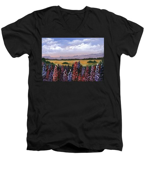 Men's V-Neck T-Shirt featuring the painting Colorful Afternoon by Anastasiya Malakhova