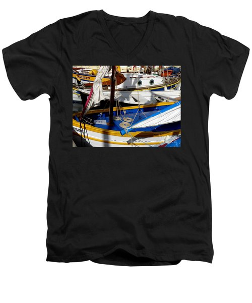 Colorful Boats Men's V-Neck T-Shirt by Lainie Wrightson