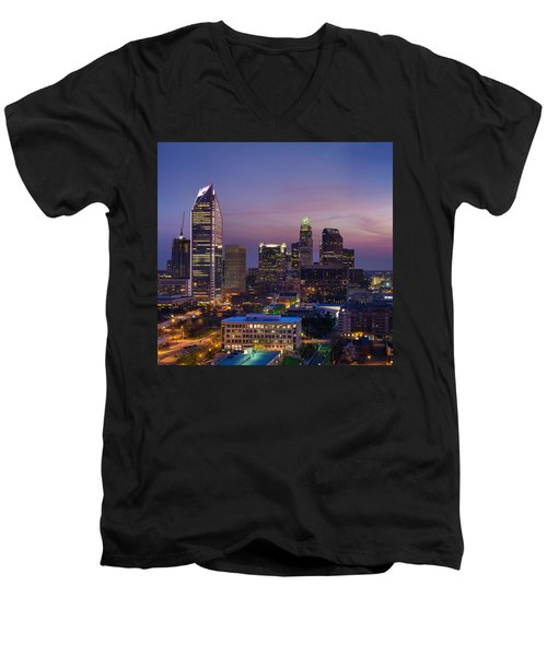 Colorful Charlotte Men's V-Neck T-Shirt by Serge Skiba