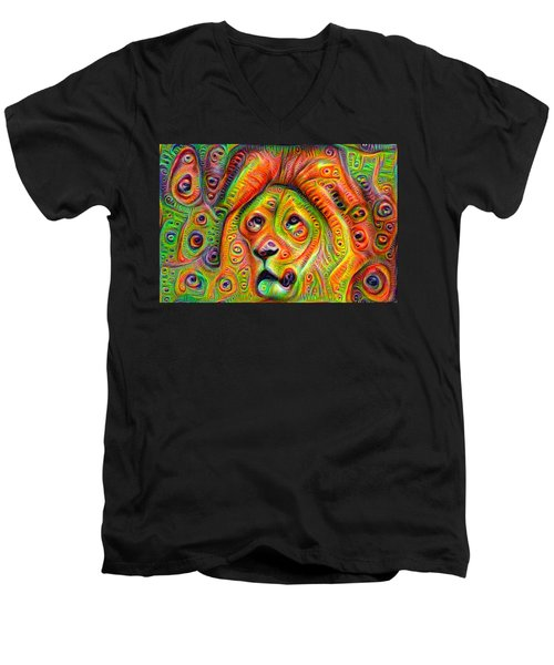 Colorful Crazy Lion Deep Dream Men's V-Neck T-Shirt