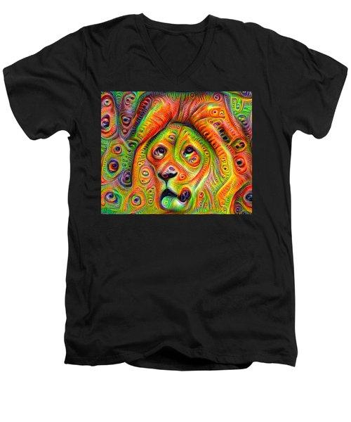 Colorful Crazy Lion Deep Dream Men's V-Neck T-Shirt