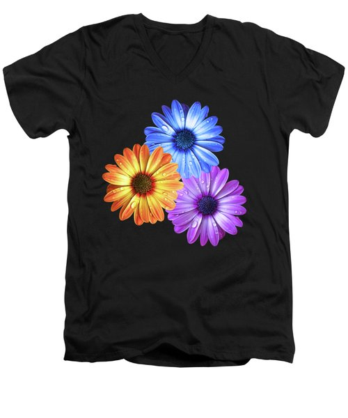 Colorful Daisies With Water Drops On Black Men's V-Neck T-Shirt