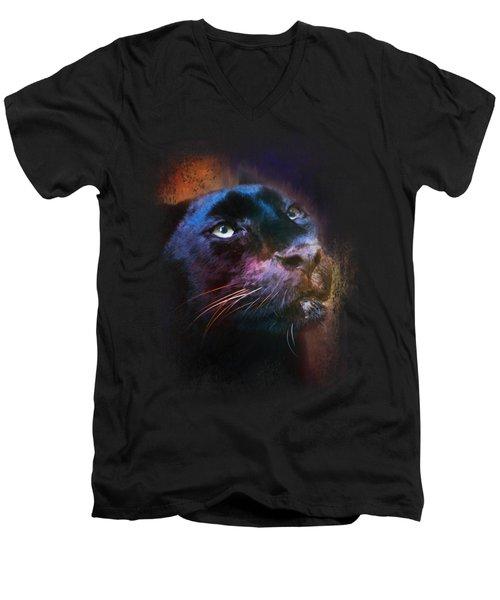 Colorful Expressions Black Leopard Men's V-Neck T-Shirt