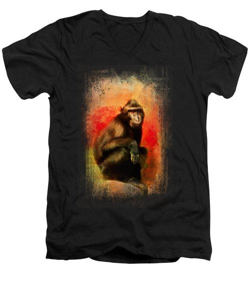 Colorful Expressions Black Monkey Men's V-Neck T-Shirt
