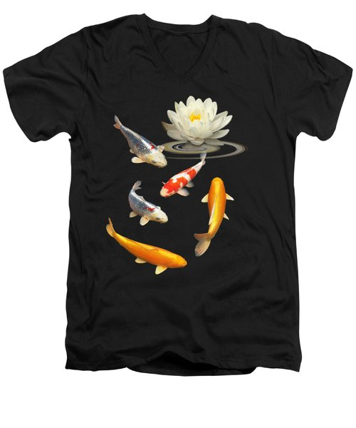 Colorful Koi With Water Lily Men's V-Neck T-Shirt